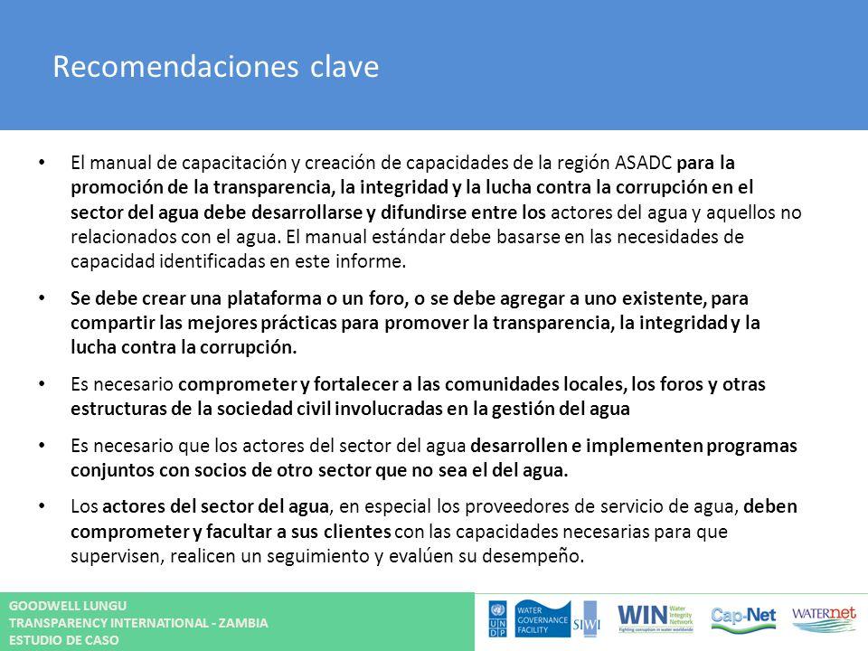 Recomendaciones clave El manual de capacitación y creación de capacidades de la región ASADC para la promoción de la transparencia, la integridad y la