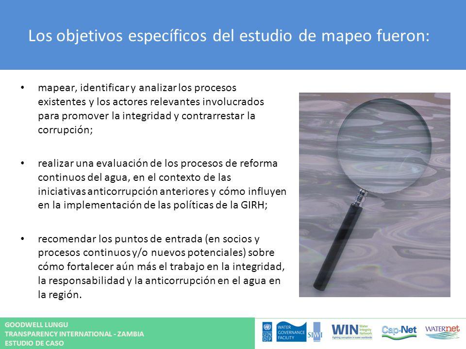 Los objetivos específicos del estudio de mapeo fueron: mapear, identificar y analizar los procesos existentes y los actores relevantes involucrados pa