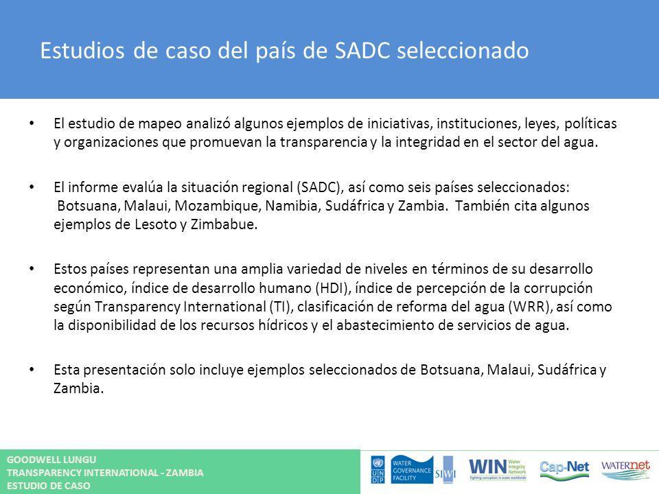Estudios de caso del país de SADC seleccionado El estudio de mapeo analizó algunos ejemplos de iniciativas, instituciones, leyes, políticas y organiza