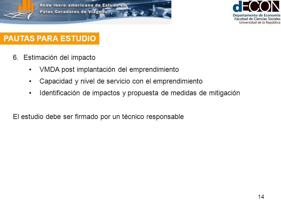 14 PAUTAS PARA ESTUDIO 6.Estimación del impacto VMDA post implantación del emprendimiento Capacidad y nivel de servicio con el emprendimiento Identificación de impactos y propuesta de medidas de mitigación El estudio debe ser firmado por un técnico responsable