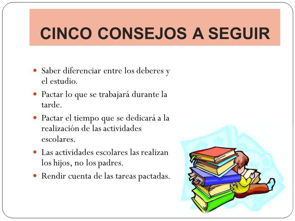 CINCO CONSEJOS A SEGUIR Saber diferenciar entre los deberes y el estudio.