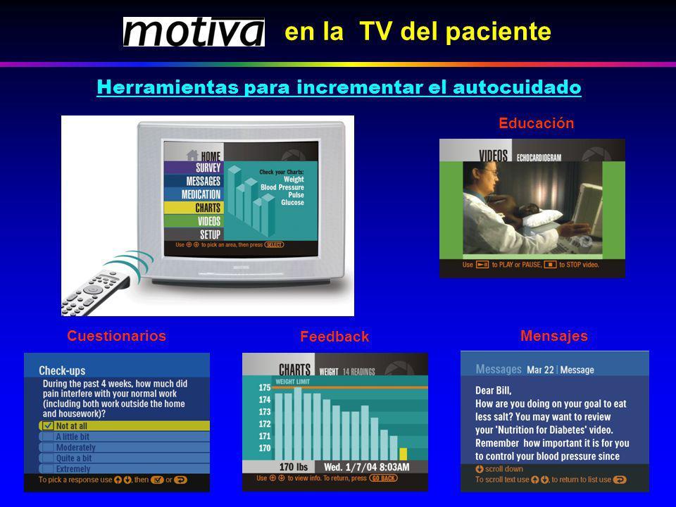 en la TV del paciente Educación Feedback Cuestionarios Mensajes Herramientas para incrementar el autocuidado