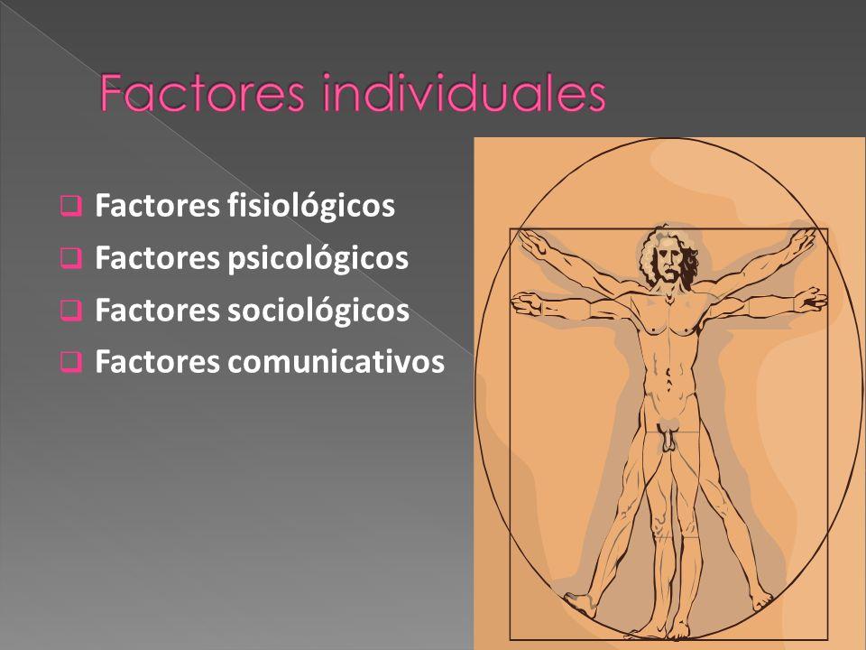 Factores fisiológicos Factores psicológicos Factores sociológicos Factores comunicativos