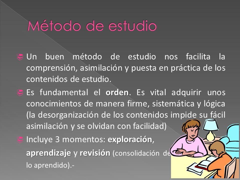 Un buen método de estudio nos facilita la comprensión, asimilación y puesta en práctica de los contenidos de estudio.