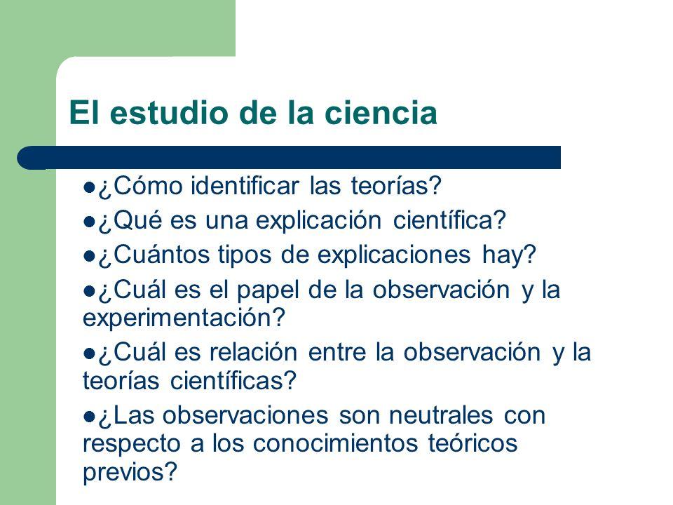 El estudio de la ciencia ¿Cómo identificar las teorías? ¿Qué es una explicación científica? ¿Cuántos tipos de explicaciones hay? ¿Cuál es el papel de