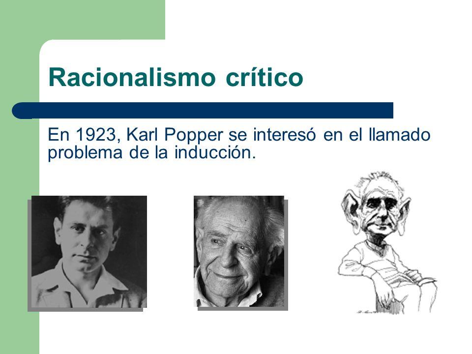En 1923, Karl Popper se interesó en el llamado problema de la inducción. Racionalismo crítico