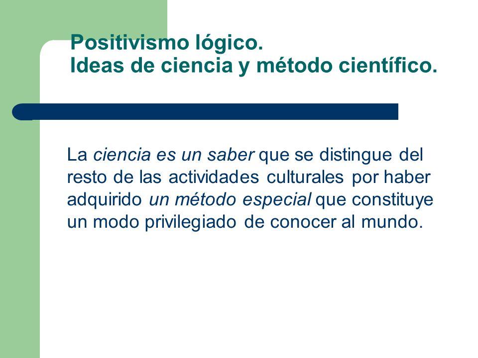Positivismo lógico. Ideas de ciencia y método científico. La ciencia es un saber que se distingue del resto de las actividades culturales por haber ad