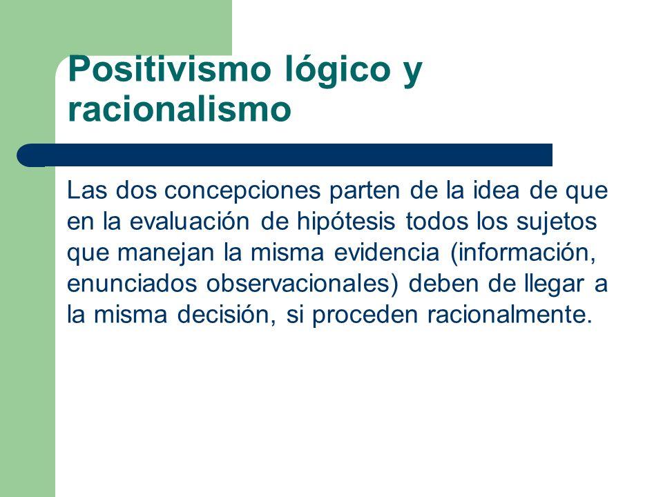 Las dos concepciones parten de la idea de que en la evaluación de hipótesis todos los sujetos que manejan la misma evidencia (información, enunciados