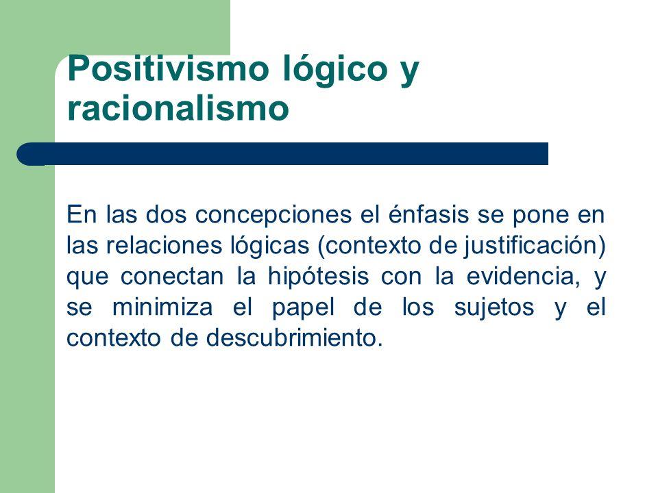 En las dos concepciones el énfasis se pone en las relaciones lógicas (contexto de justificación) que conectan la hipótesis con la evidencia, y se mini
