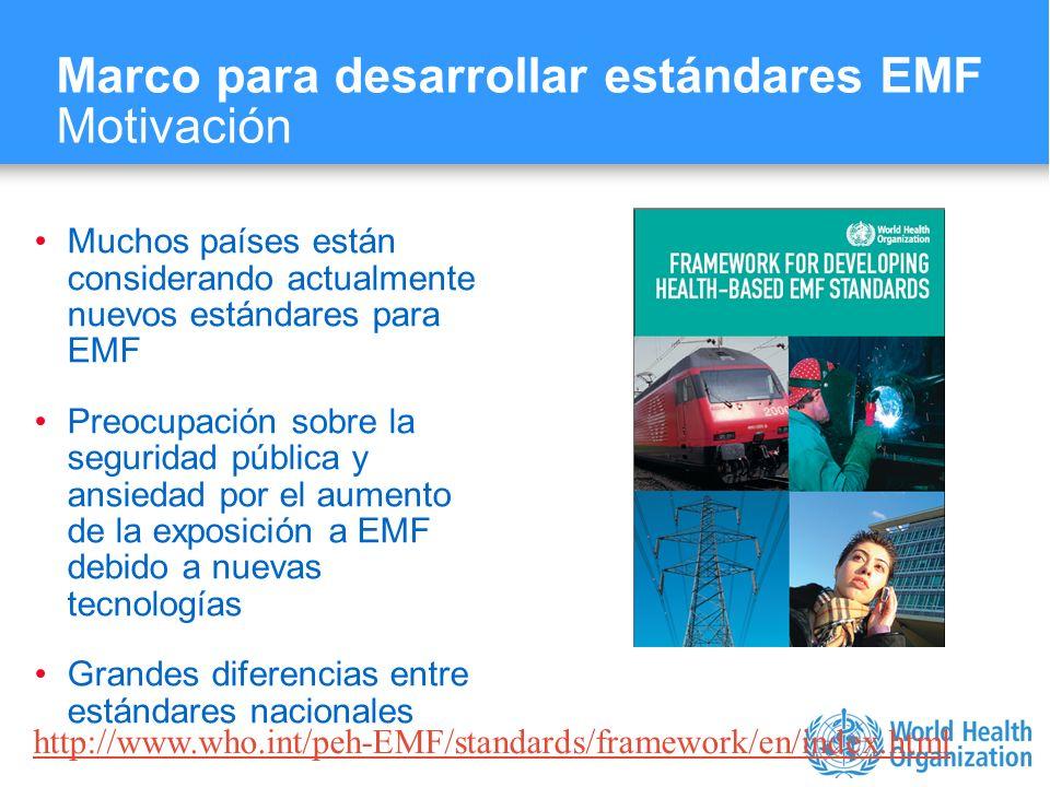 Characterizing evidence in EMF risk assessment, Berlin, 4-5 May 2006 Muchos países están considerando actualmente nuevos estándares para EMF Preocupac