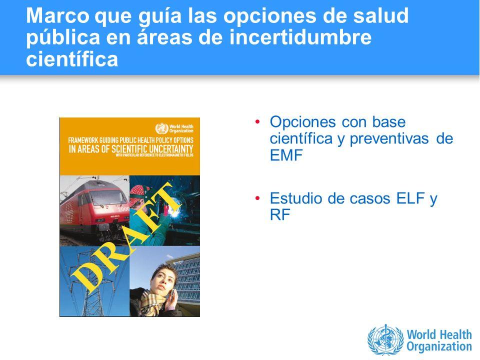 Characterizing evidence in EMF risk assessment, Berlin, 4-5 May 2006 Marco que guía las opciones de salud pública en áreas de incertidumbre científica
