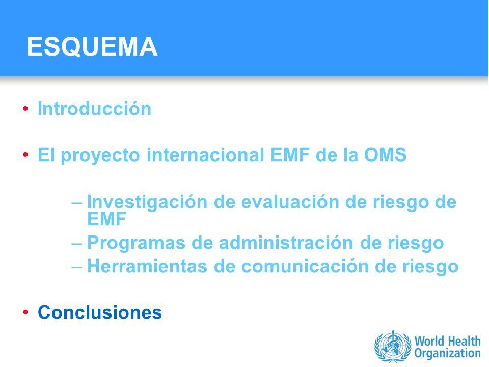 Characterizing evidence in EMF risk assessment, Berlin, 4-5 May 2006 ESQUEMA Introducción El proyecto internacional EMF de la OMS –Investigación de ev