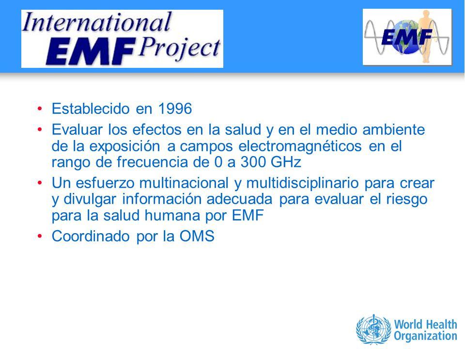 Characterizing evidence in EMF risk assessment, Berlin, 4-5 May 2006 Establecido en 1996 Evaluar los efectos en la salud y en el medio ambiente de la