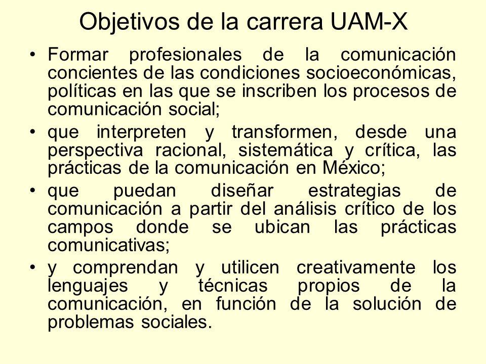 Objetivos de la carrera UAM-X Formar profesionales de la comunicación concientes de las condiciones socioeconómicas, políticas en las que se inscriben