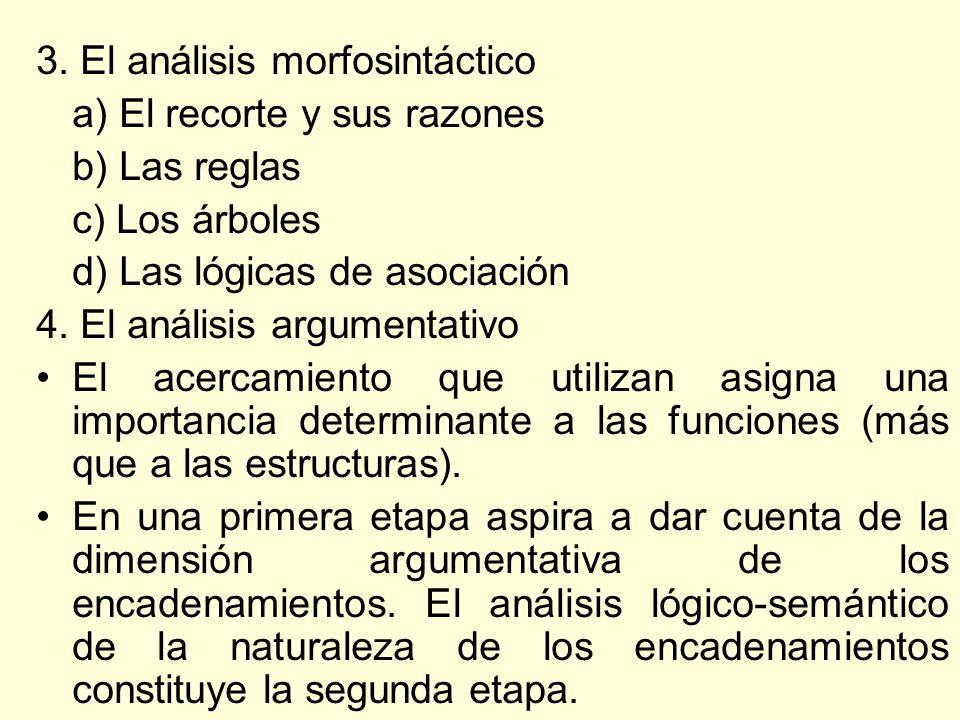 3. El análisis morfosintáctico a) El recorte y sus razones b) Las reglas c) Los árboles d) Las lógicas de asociación 4. El análisis argumentativo El a