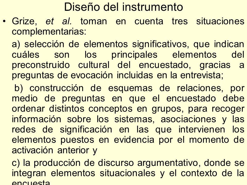 Diseño del instrumento Grize, et al. toman en cuenta tres situaciones complementarias: a) selección de elementos significativos, que indican cuáles so