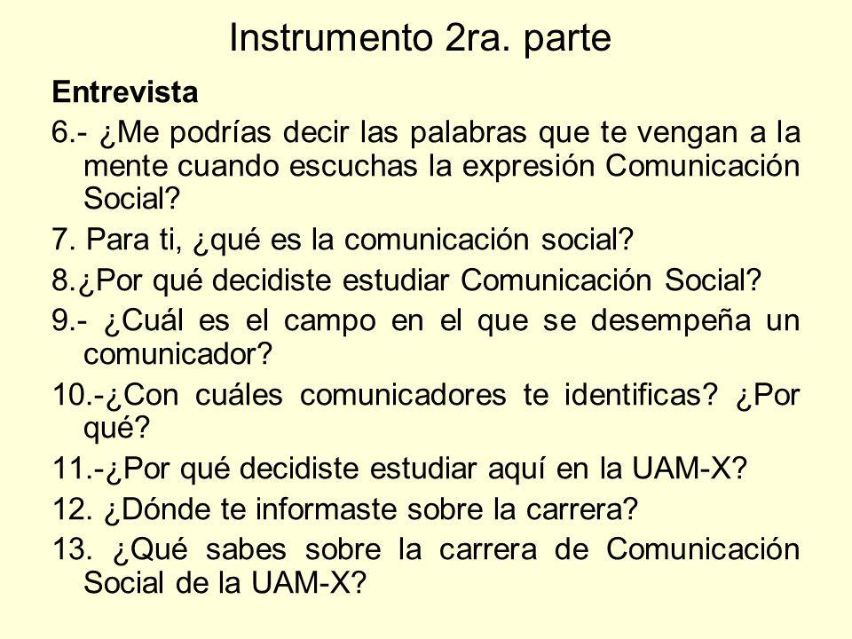 Instrumento 2ra. parte Entrevista 6.- ¿Me podrías decir las palabras que te vengan a la mente cuando escuchas la expresión Comunicación Social? 7. Par