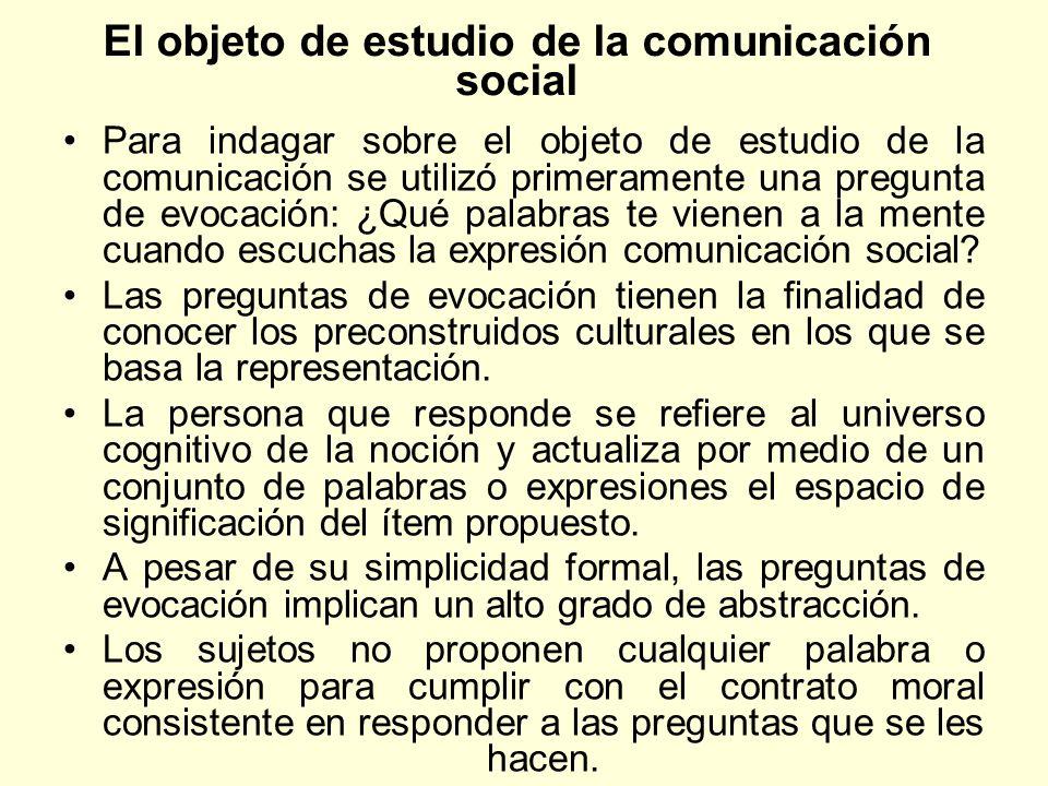 El objeto de estudio de la comunicación social Para indagar sobre el objeto de estudio de la comunicación se utilizó primeramente una pregunta de evoc