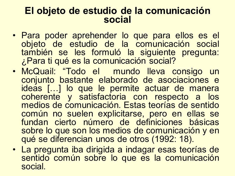 El objeto de estudio de la comunicación social Para poder aprehender lo que para ellos es el objeto de estudio de la comunicación social también se le