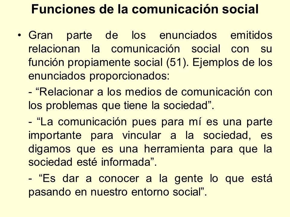 Funciones de la comunicación social Gran parte de los enunciados emitidos relacionan la comunicación social con su función propiamente social (51). Ej