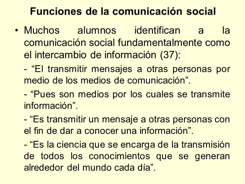 Funciones de la comunicación social Muchos alumnos identifican a la comunicación social fundamentalmente como el intercambio de información (37): - El