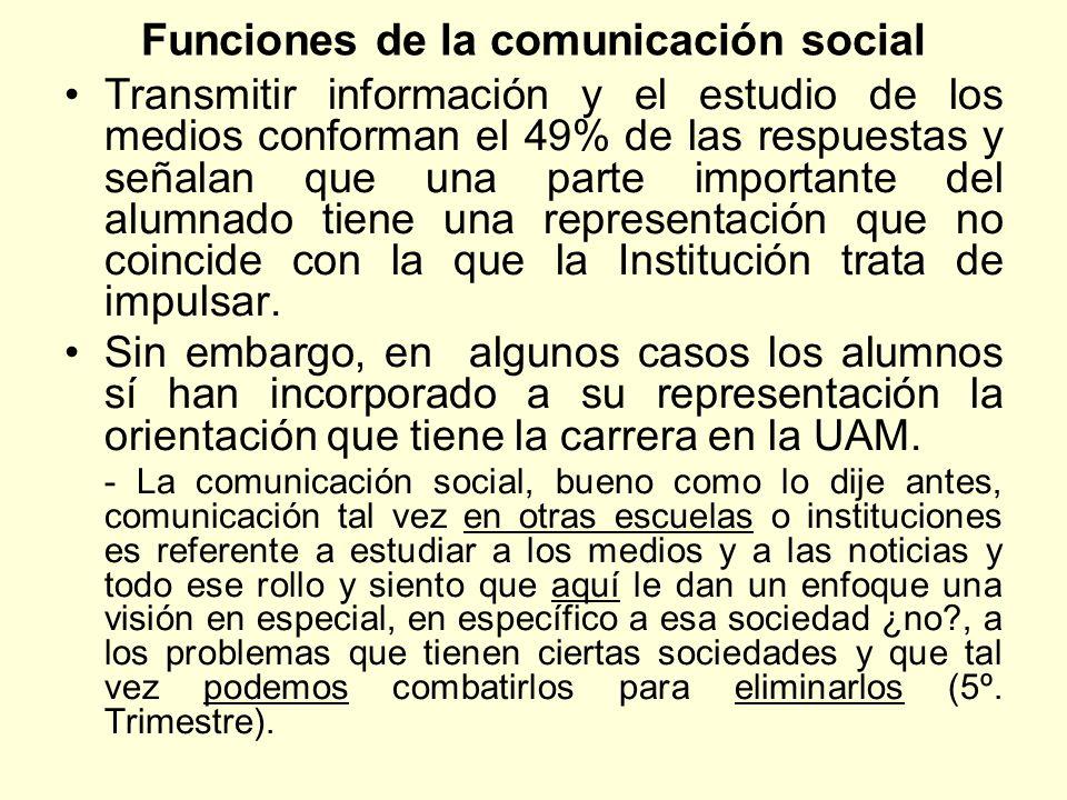 Funciones de la comunicación social Transmitir información y el estudio de los medios conforman el 49% de las respuestas y señalan que una parte impor