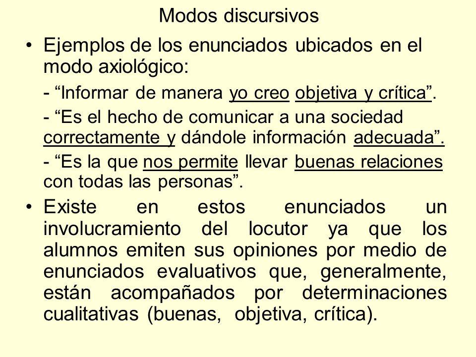Modos discursivos Ejemplos de los enunciados ubicados en el modo axiológico: - Informar de manera yo creo objetiva y crítica. - Es el hecho de comunic