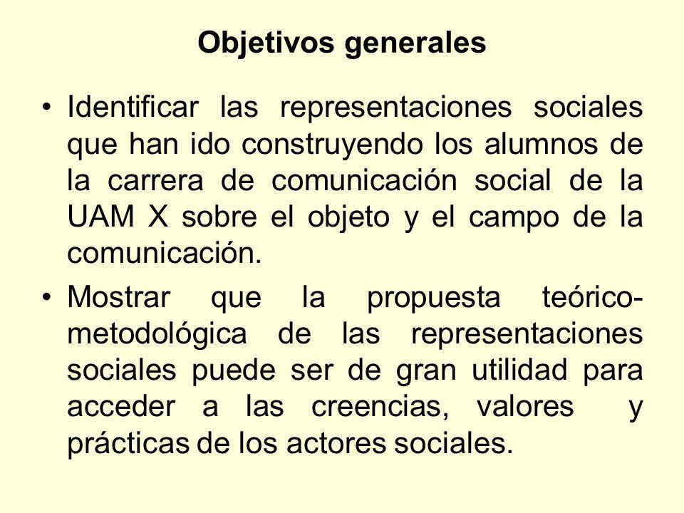 Objetivos generales Identificar las representaciones sociales que han ido construyendo los alumnos de la carrera de comunicación social de la UAM X so