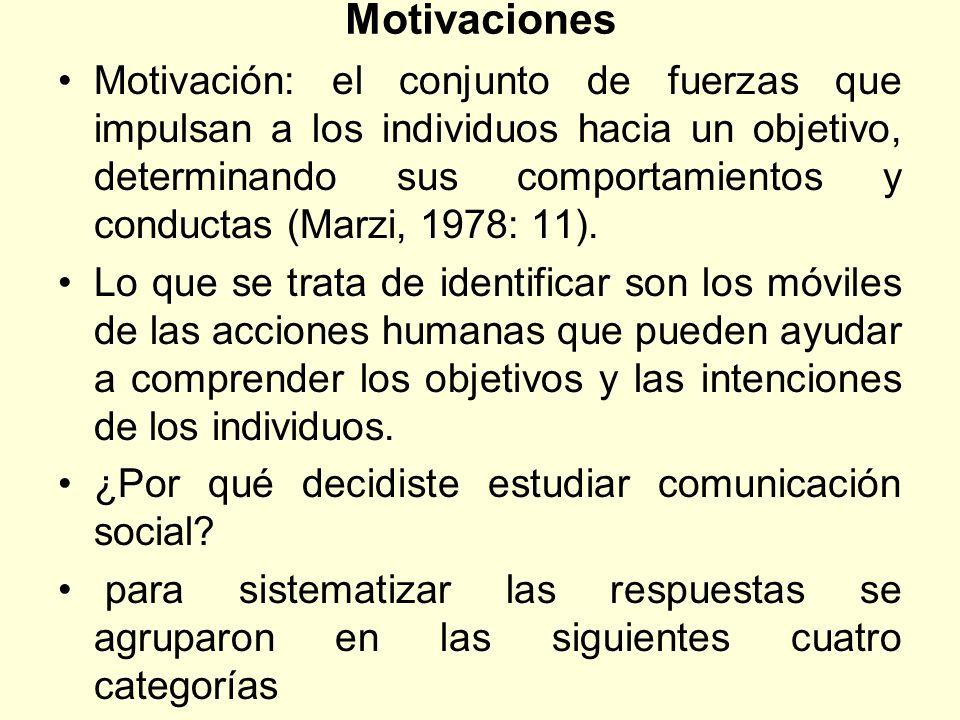 Motivaciones Motivación: el conjunto de fuerzas que impulsan a los individuos hacia un objetivo, determinando sus comportamientos y conductas (Marzi,