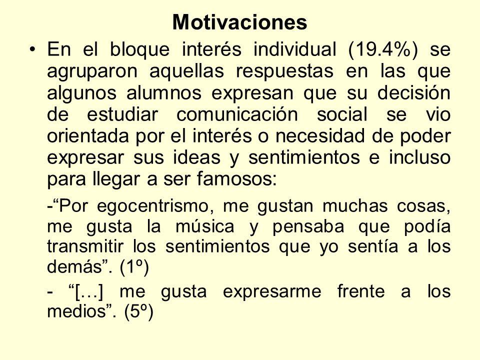 Motivaciones En el bloque interés individual (19.4%) se agruparon aquellas respuestas en las que algunos alumnos expresan que su decisión de estudiar