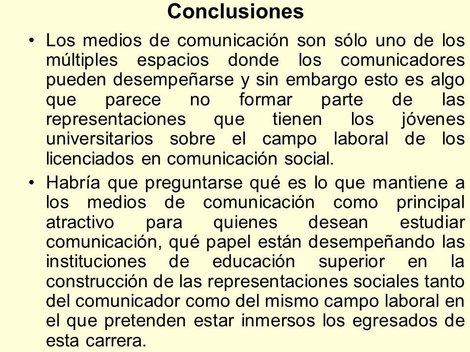 Conclusiones Los medios de comunicación son sólo uno de los múltiples espacios donde los comunicadores pueden desempeñarse y sin embargo esto es algo
