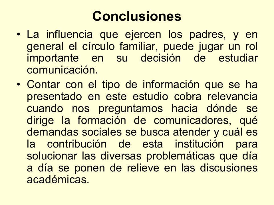 Conclusiones La influencia que ejercen los padres, y en general el círculo familiar, puede jugar un rol importante en su decisión de estudiar comunica