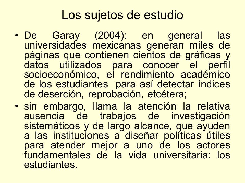 Los sujetos de estudio De Garay (2004): en general las universidades mexicanas generan miles de páginas que contienen cientos de gráficas y datos util