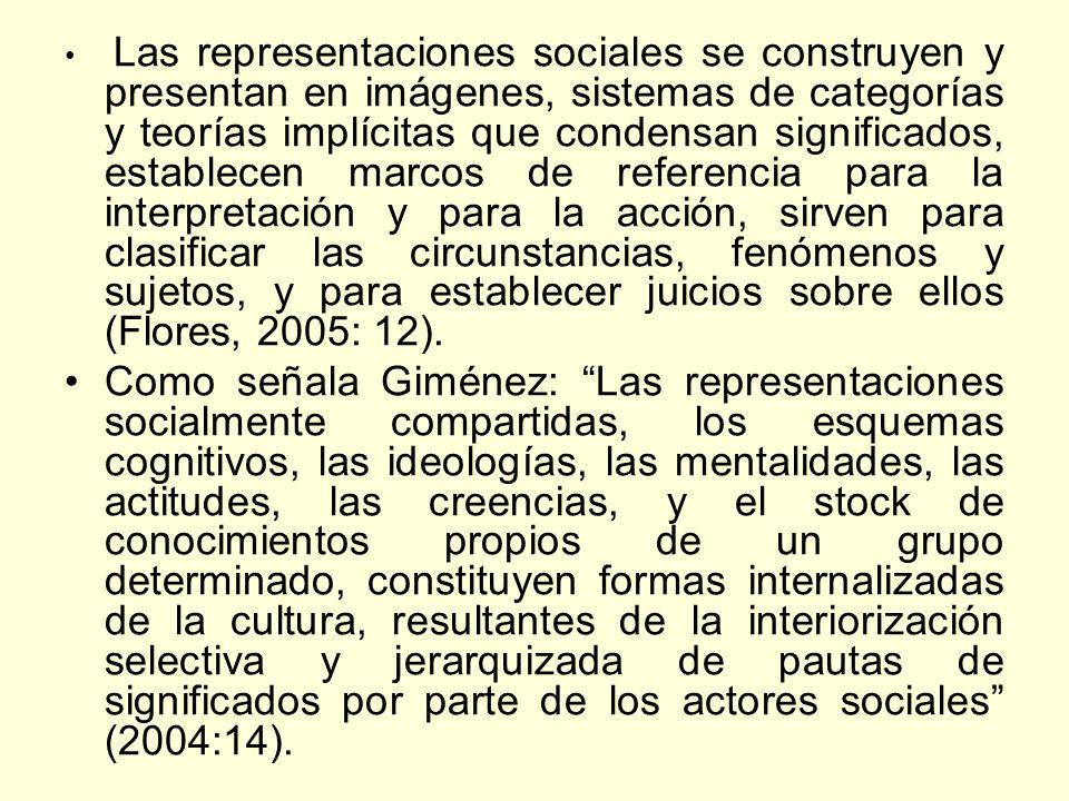Las representaciones sociales se construyen y presentan en imágenes, sistemas de categorías y teorías implícitas que condensan significados, establece