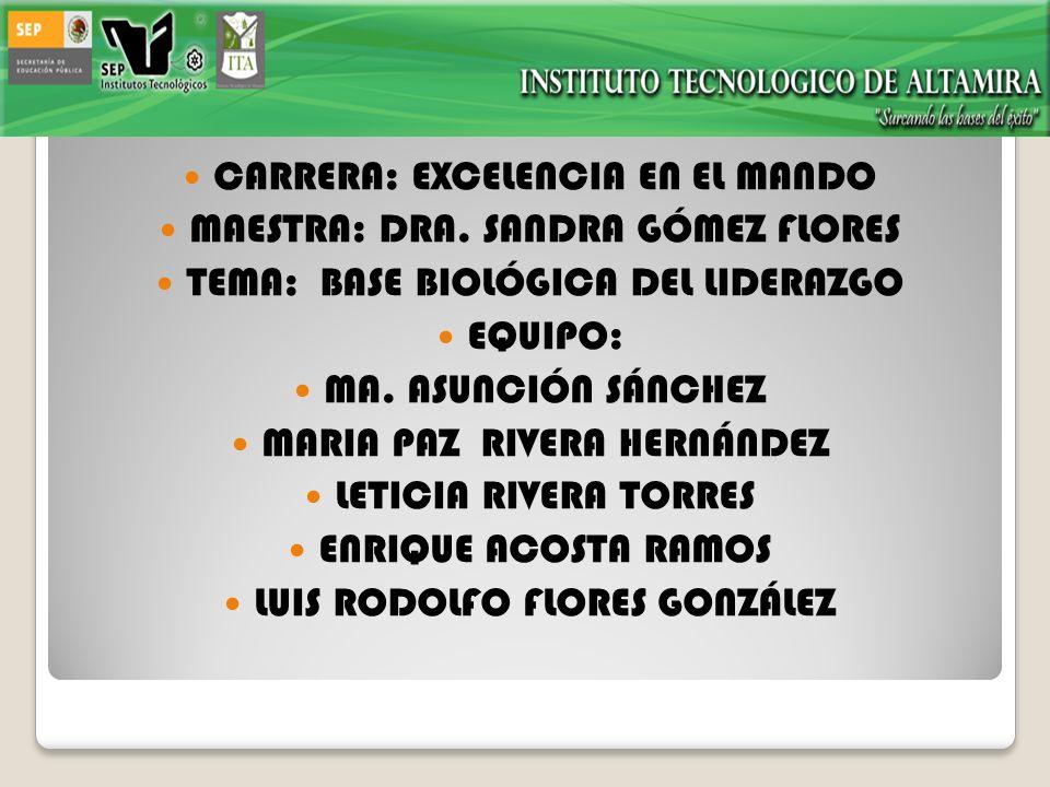 CARRERA: EXCELENCIA EN EL MANDO MAESTRA: DRA. SANDRA GÓMEZ FLORES TEMA: BASE BIOLÓGICA DEL LIDERAZGO EQUIPO: MA. ASUNCIÓN SÁNCHEZ MARIA PAZ RIVERA HER