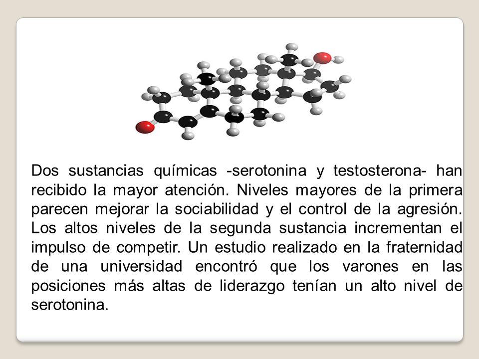 Dos sustancias químicas -serotonina y testosterona- han recibido la mayor atención. Niveles mayores de la primera parecen mejorar la sociabilidad y el
