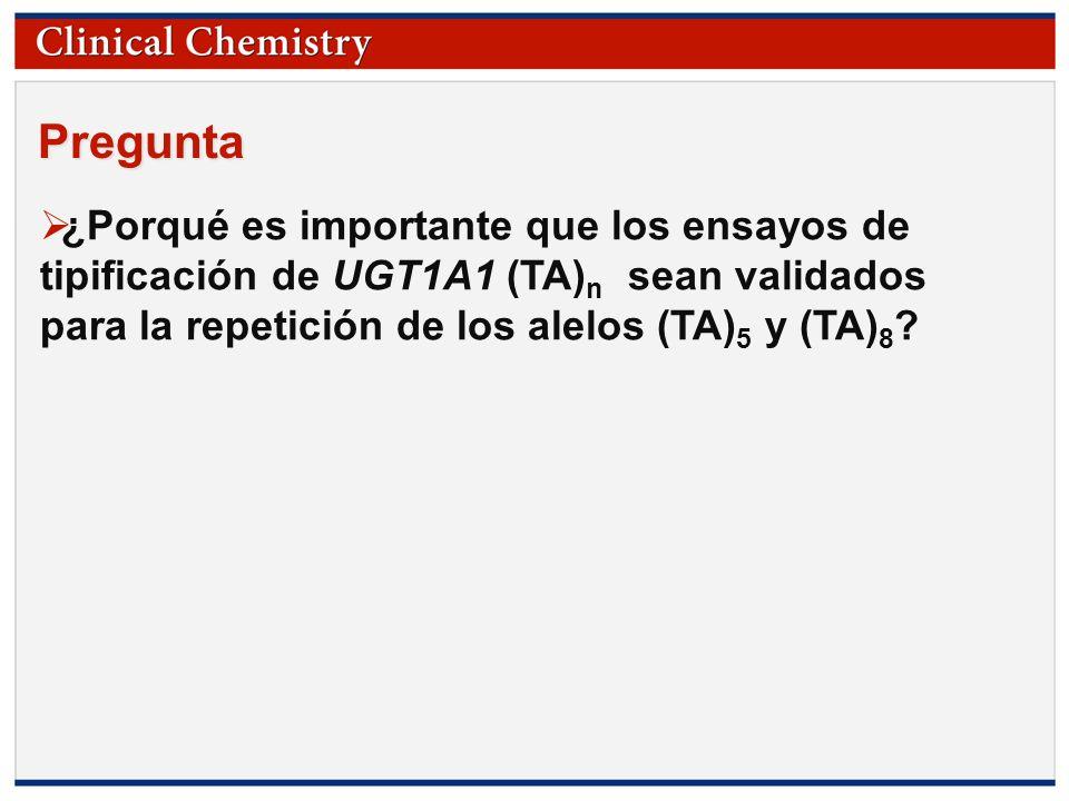 © Copyright 2009 by the American Association for Clinical Chemistry Alcance de la reversión por cebador para el genotipo promotor de polimorfismo de UGT1A1 (TA) n.