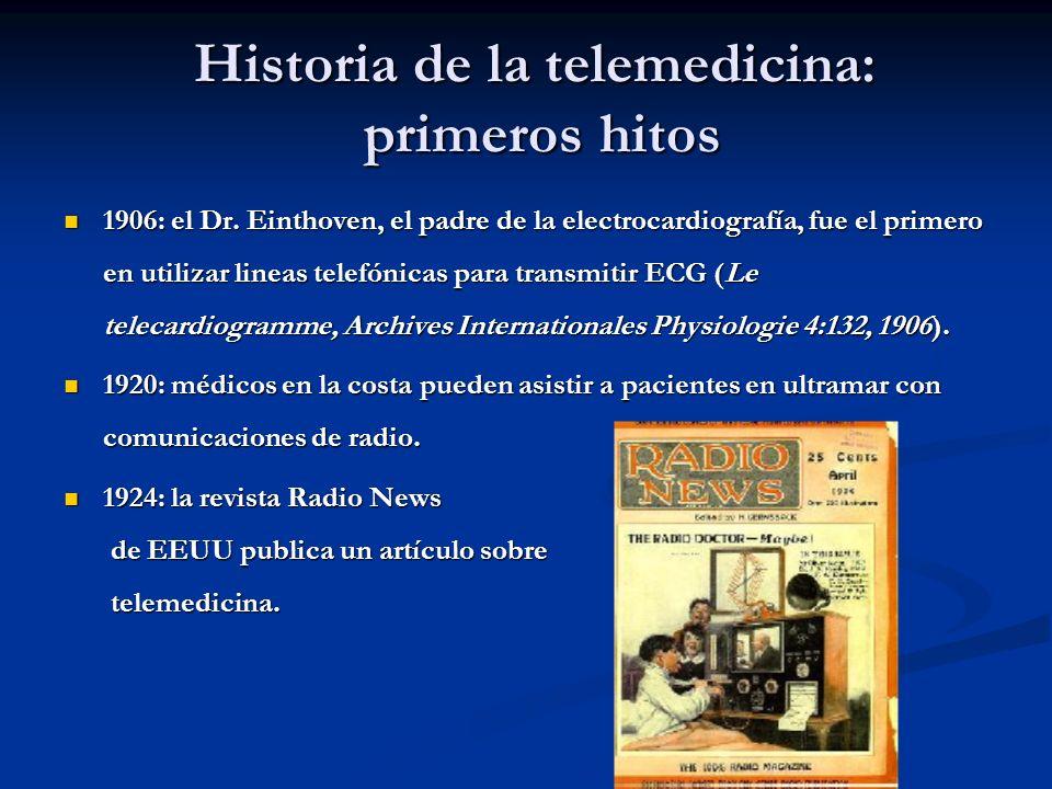 Historia de la telemedicina: primeros hitos 1906: el Dr. Einthoven, el padre de la electrocardiografía, fue el primero en utilizar lineas telefónicas