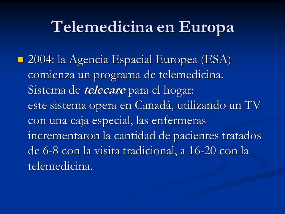 Telemedicina en Europa 2004: la Agencia Espacial Europea (ESA) comienza un programa de telemedicina. Sistema de telecare para el hogar: este sistema o