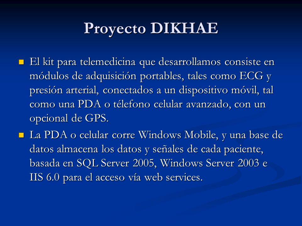 Proyecto DIKHAE El kit para telemedicina que desarrollamos consiste en módulos de adquisición portables, tales como ECG y presión arterial, conectados