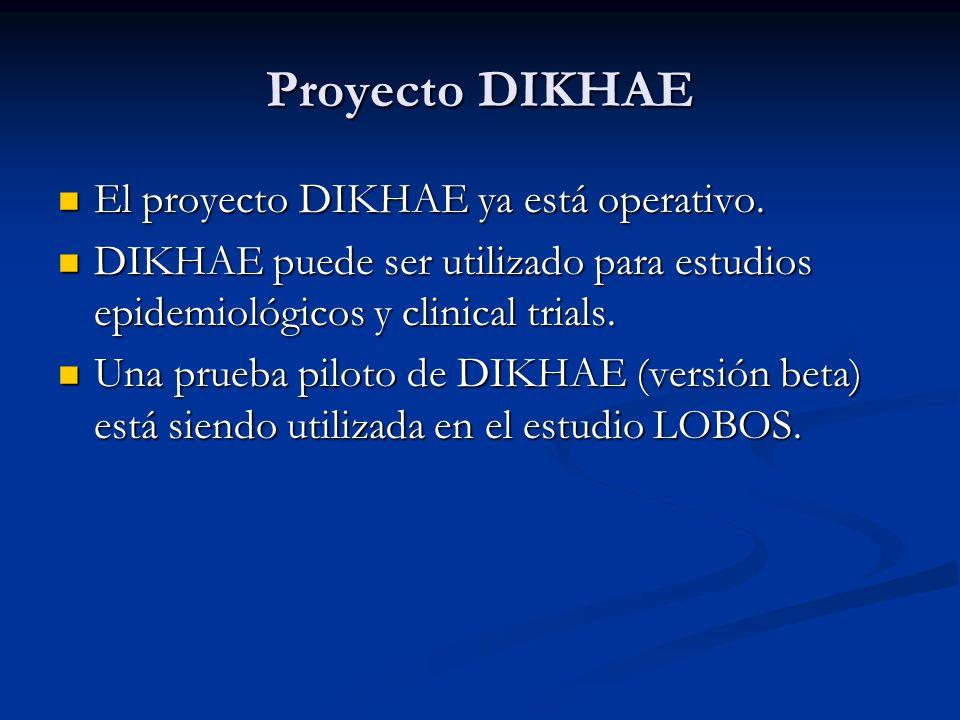 Proyecto DIKHAE El proyecto DIKHAE ya está operativo. El proyecto DIKHAE ya está operativo. DIKHAE puede ser utilizado para estudios epidemiológicos y