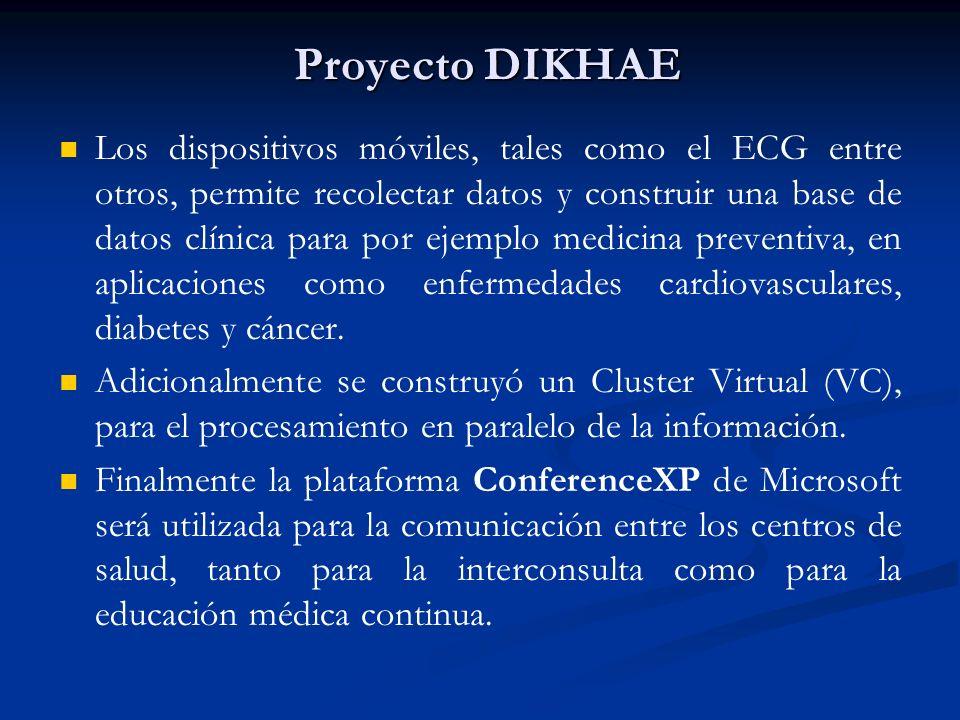 Proyecto DIKHAE Los dispositivos móviles, tales como el ECG entre otros, permite recolectar datos y construir una base de datos clínica para por ejemp
