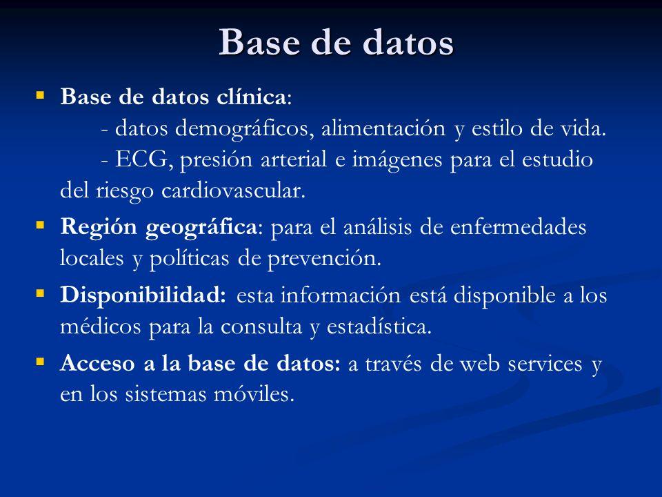Base de datos Base de datos clínica: - datos demográficos, alimentación y estilo de vida. - ECG, presión arterial e imágenes para el estudio del riesg
