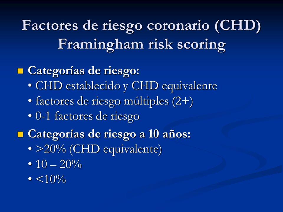 Factores de riesgo coronario (CHD) Framingham risk scoring Categorías de riesgo: CHD establecido y CHD equivalente factores de riesgo múltiples (2+) 0