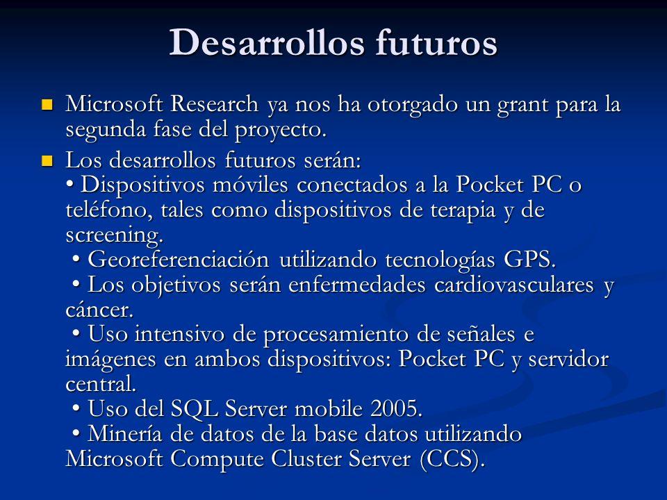 Desarrollos futuros Microsoft Research ya nos ha otorgado un grant para la segunda fase del proyecto. Microsoft Research ya nos ha otorgado un grant p