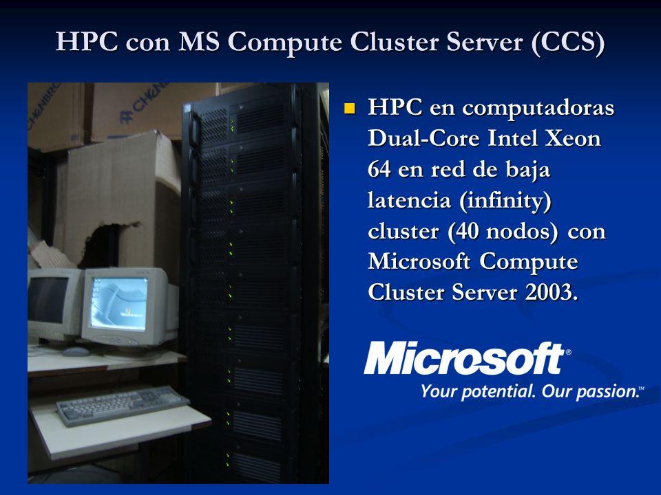 HPC con MS Compute Cluster Server (CCS) HPC en computadoras Dual-Core Intel Xeon 64 en red de baja latencia (infinity) cluster (40 nodos) con Microsof