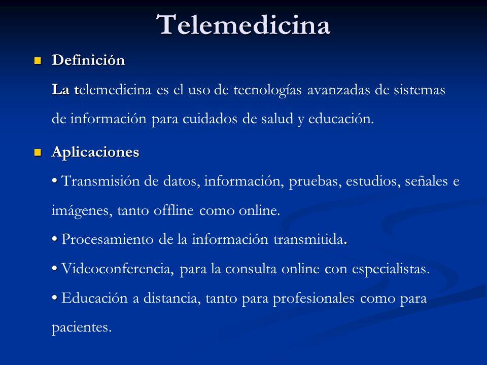 Telemedicina Definición La t Definición La telemedicina es el uso de tecnologías avanzadas de sistemas de información para cuidados de salud y educaci