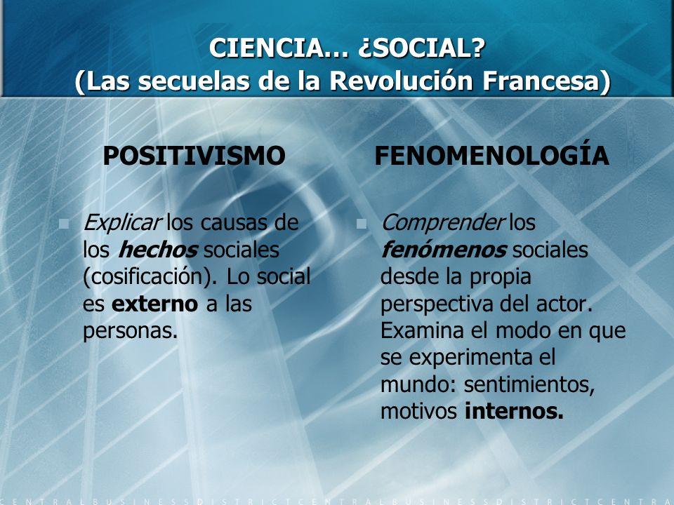 CIENCIA… ¿SOCIAL? (Las secuelas de la Revolución Francesa) CIENCIA… ¿SOCIAL? (Las secuelas de la Revolución Francesa) POSITIVISMO Explicar los causas