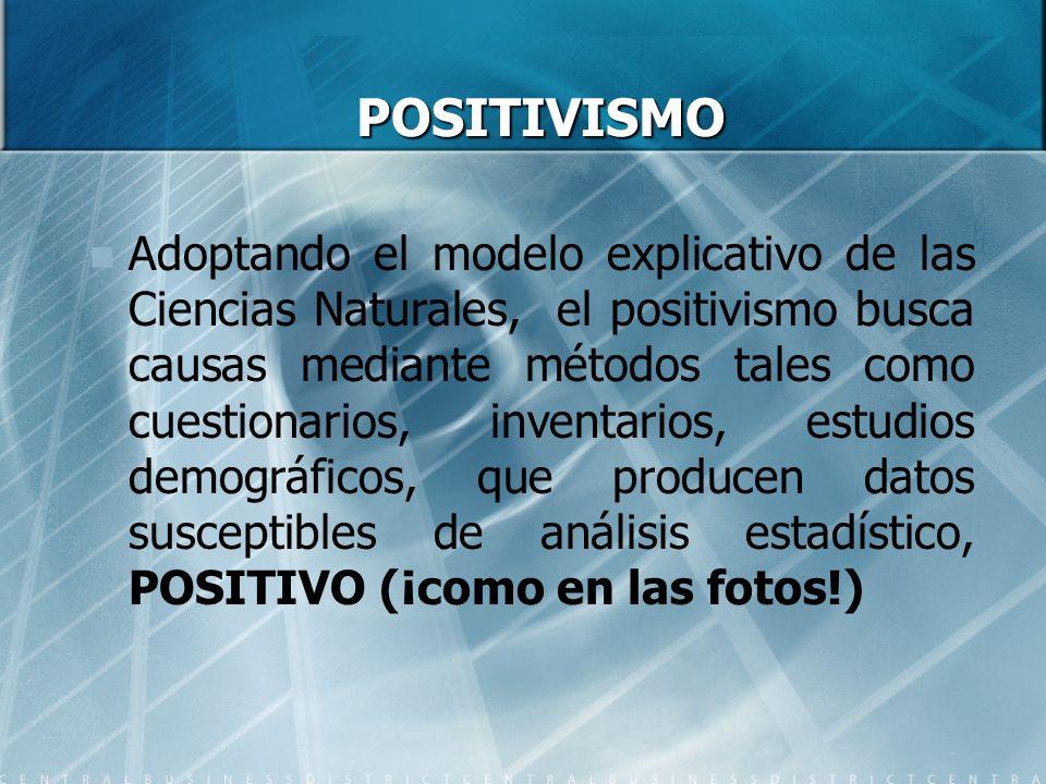 POSITIVISMO POSITIVISMO Adoptando el modelo explicativo de las Ciencias Naturales, el positivismo busca causas mediante métodos tales como cuestionari