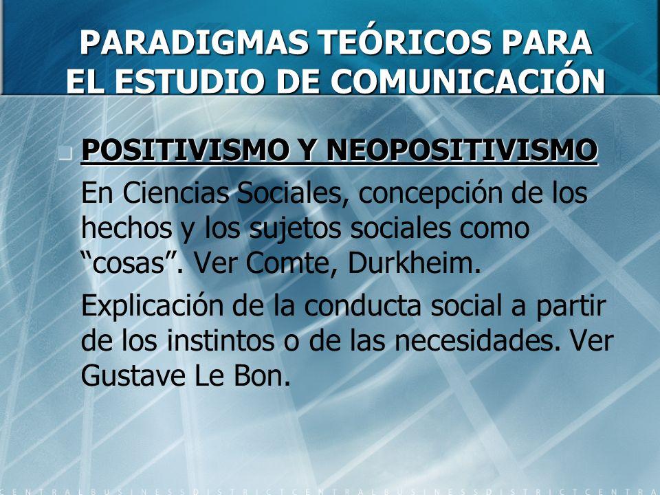 PARADIGMAS TEÓRICOS PARA EL ESTUDIO DE COMUNICACIÓN POSITIVISMO Y NEOPOSITIVISMO POSITIVISMO Y NEOPOSITIVISMO En Ciencias Sociales, concepción de los hechos y los sujetos sociales como cosas.